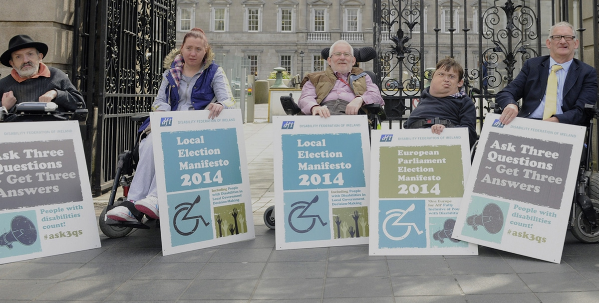 Peter Moore, Annie Byrne, Don Bailey, Aaron Abbey and Dermot Walsh at the launch of the Disability Federation Ireland Elections 2014 Campaign outside Leinster House on May 12th.