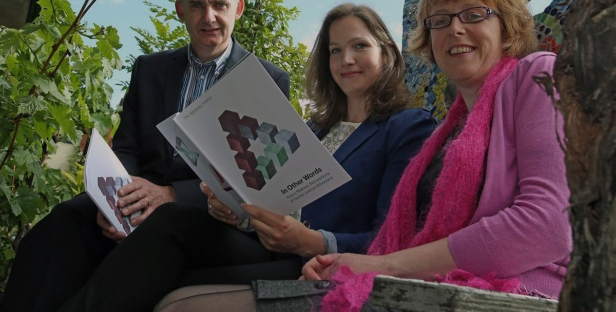 Kieran Murphy, SVP, Catherine Joyce, Barnardos & researcher Kathy Walsh launching 'In Other Words: Policy Makers' Perceptions of Social Justice Advocacy'.